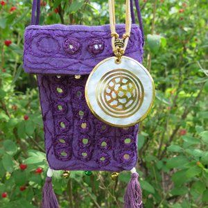 Mother of Pearl Pendant and Purple Pouch BUNDLE